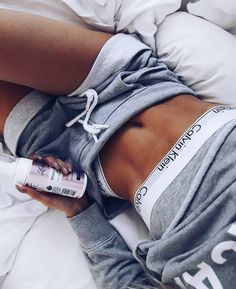 @kristinsundberg chills out in her Calvins and sweats - this is what Sunday night should look like!  Shop the Calvin Klein Modern Cotton Bralette and Bikini Bottoms at Stylerunner.com #stylerunner #stylesquad