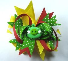 Angry Birds Hair Bow Green Pig