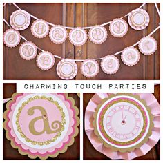 New Years Happy Birthday Party banner.  Pink and gold. Happy ONE Year.  Fully assembled. Girl decorations. Customizable. by CharmingTouchParties on Etsy