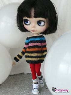 Multicolor striped sweater for Momoko Blythe Pullip by Cangaway, $35,00