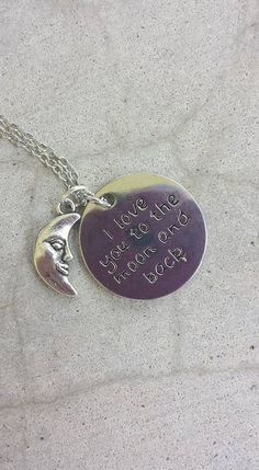 I Love You to the Moon and Back Silver Necklace with Silver Moon Charm, Moon Necklace, Love Necklace, Love Gifts, Moon and Back Necklace by YaYaHippieEmporium on Etsy