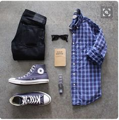 Stitch Fix Men - casual men's fall outfit, dark wash denim, check button down shirt and converse