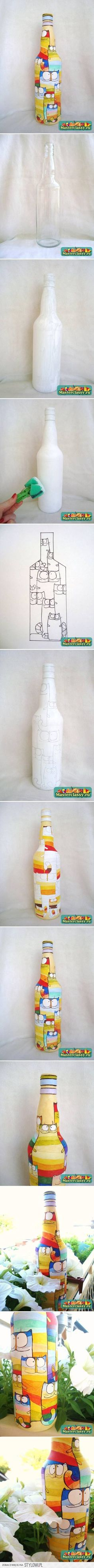 DIY Bottle of Acrylic Cat Painting DIY Projects