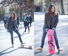 The Cools x Bobbi Brown Host A Pretty Powerful Skateboard Lesson - Leandra Medine's a stylish skater in an embellished Dries Van Noten blazer and gold Golden Goose sneaks.