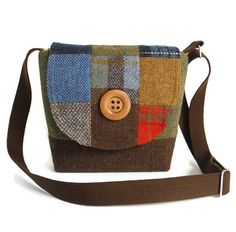 Harris Tweed Patchwork Satchel - Messenger - One-of-a-Kind - Cross Body - Purse - Tartan - Check One-of-a-kind! Made from exclusive Harris Tweed wool imported from Scotland in a patchwork of checks, barleycorn and solid weaves. Main body of bag is made in an olive green and brown weave. Harris Tweed is a luxury wool that is handwoven by the islanders in the Outer Hebrides of Scotland, using local wool. The bag is certified with the an authentic Harris Tweed Orb label. NOTE: Last photo is…