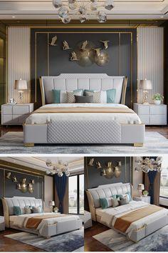 Modern Luxury Bedroom, Luxury Bedroom Design, Room Design Bedroom, Bedroom Furniture Design, Stylish Bedroom, Bedroom Layouts, Home Room Design, Luxurious Bedrooms, Home Decor Bedroom