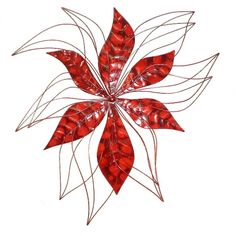 Red Metal Wall Art home :: metal wall art :: flowers, leaves & trees :: set 4 three