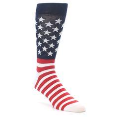 Red White Blue American Flag Men's Dress Socks Groomsmen Socks, Novelty Socks, Colorful Socks, Dress Socks, Cool Socks, Red White Blue, American Flag, Cool Style, Fun