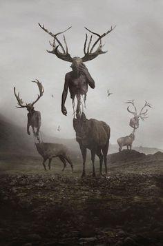 Imagem de creepy, art, and deer