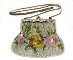 (Almost) Antique Beaded Purse, 1920s by Christiana, Art Déco, Glass Beads,