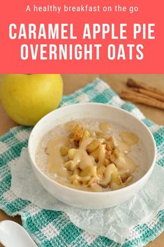 These Caramel Apple Pie Overnight Oats are amazing! They're the perfect healthy make ahead breakfast to enjoy in the fall. #happyhealthymotivated #overnightoats #healthybreakfast #caramelapple #applepie #healthyrecipes Healthy Vegetarian Breakfast, Healthy Breakfast On The Go, Healthy Sweet Snacks, Healthy Meals For Kids, Healthy Breakfasts, Breakfast Ideas, Vegetarian Recipes, Healthy Christmas Recipes, Oats Recipes