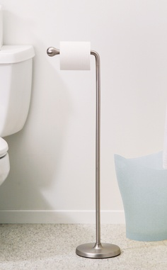 teardrop toilet paper stand die cast metal toilet paper stand with nickel plated finish