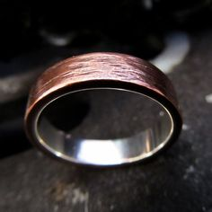 Mens wedding copper silver band ring rustic by HcsMetalsmiths