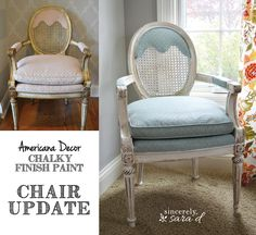 Painting upholstery with Americana Decor chalky finish paint and wax.