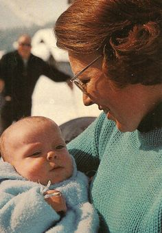 Princess Beatrix of Netherlands with little prince Constantijn. Late 1960s.