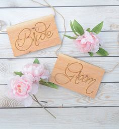 Rustic wooden Bride and Groom sign- rustic wedding sign- chair signs, photo props