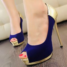 Attractive Suede Blue Open Peep Toe Stiletto Super High Heel Basic Pumps