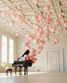 Pink balloon art and grand piano. Instalation Art, Balloon Decorations, Music Party Decorations, Balloon Arrangements, Spring Decorations, Decoration Party, Oeuvre D'art, Event Decor, Pretty In Pink