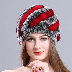 b4974cb455d06 Russian Fur Hat Guarantee Natural Genuine Rex Rabbit Fur Cap Knitted Hats  For Winter Women Beanies bone Warm Pineapple Cap
