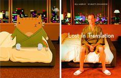 Gatos em releituras de cartazes de filmes clássicos