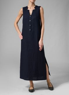 Sleeveless styling. Suit your style with this classical feminine straight line dress.