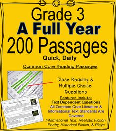 200 Passages--A Full Year of Daily Common Core Reading Practice-- Inference, Main Idea, Vocabulary, Point of View--Close Reading, Multiple Choice, Short Response in Multiple Genres. --Informational Text, Realistic Fiction, Historical Fiction, Plays, Folktales, and Poetry. Quick, Daily Practice. Many Standards Repeat Across the Weeks for Steady Common Core Review $