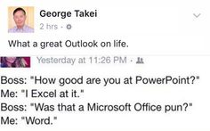 Only Takei could improve on these delightful puns. (Original joke by @drewtarvin?)