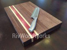 Exotic wood cutting board Purpleheart Walnut Maple