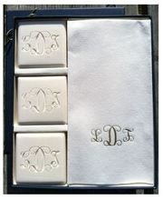 Bridal Shower Gift Idea for a monogram party! Imagine a bridal shower gift that is so luxurious that it look like you spent a fortune, but you can get this monogrammed guest hand towel and soap set delivered for under $50 from Carolina Clover.  Get this when you need a gift outside of the bridal gift registry!
