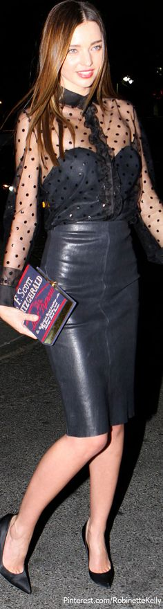 Sexy and elegant   Leather Style   Miranda Kerr
