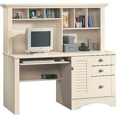 Sauder Harbor View Computer Desk with Hutch, Antiqued White - I want this for our office! Found it at Walmart!