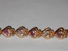 Ruby Heart Bracelet ~7.5 Inches ~ Goldtone #AimeesTreasures #Tennis