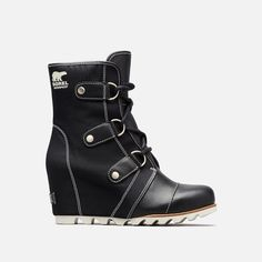 The SOREL Women's Joan Of Arctic Wedge Mid X Celebration is a chic wedge boot in waterproof nylon and leather with gold hardware. Joan Of Arctic Wedge, Sorel Joan Of Arctic, Wedge Boots, Bootie Boots, Cute Shoes, Me Too Shoes, Sorel Boots, It Goes On, Winter Boots