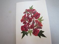 Pressed flower card with burgandy flowers and ivy by artybea, $5.00