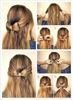 bow hair - looks easy but it's not