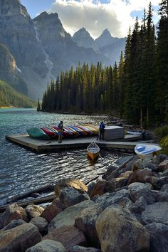 This photo was taken at Moraine Lake in Banff National Park located in Alberta, Canada. Parc National, Banff National Park, National Parks, National Forest, Dream Vacations, Vacation Spots, Lago Moraine, Places To Travel, Places To See