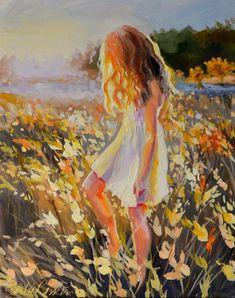 Dorm Decor of Original Woman Art Dress Painting, Painting Of Girl, Painting People, Figure Painting, Oil Painting On Canvas, Canvas Art, Art Original, Impressionist Paintings, Portrait Art