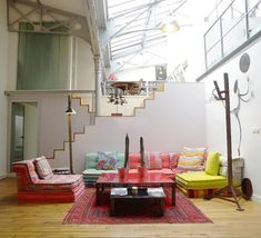 I'm completely in love with this space! A split level home with a sunken boho living area - and it even has a modular lounge! Perfect!