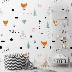 a2d5627b277 Παιδικές ταπετσαρίες · Ταπετσαρία τοίχου με σκανδιναβικό μοτίβο με αλεπού.  Ένα minimal σχέδιο για μοντέρνα παιδικά δωμάτια.