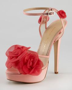 Spring 2013 - Fleur Ankle-Wrap Platform Sandal, Pink by Charlotte Olympia at Neiman Marcus.