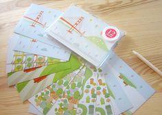 San Francisco 12 Postcards  2 each of 6 images  by TomokoMaruyama, $12.95