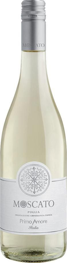 Primo Amore Moscato, Italian Wine. Straw-yellow with golden reflections and a delicate mousse.  Fruity and very inviting, with intense scents of peaches and exotic fruit.  Fresh and pleasantely sweet with a taste that reveals its varietal characteristic.