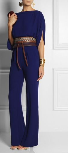 Diane von Furstenberg's FW13 Collection is a Celebration of '70s Style. This Purple and Tan Leather Obi belt is Embroidered to striking effect. Shown here with| Hervé Van der Straeten Earrings and Cuff, Diane von Furstenberg Jumpsuit, Givenchy shoes, Diane von Furstenberg Clutch.♥. ✤♠ ✤♠ I WANT IT ALL