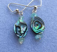 Paua Oval Earrings Sea Glass Chips Silver Plated by IsleOfCraftin, $14.00   I love Paua Shell Jewelry