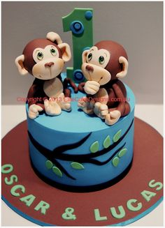 Monkeys birthday cake for twins in Sydney