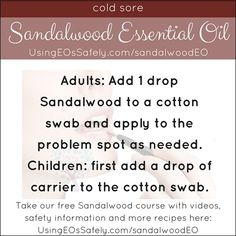 Using Sandalwood Essential Oil Safely Sandalwood Essential Oil, Essential Oils, Cotton Swab, Graduate Program, Cold Sore, Eos, Natural Remedies, Health Fitness, 2 Broke