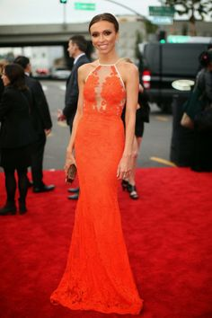 Array of Style Array of Style #Grammys2014 #redcarpet #Guiliana Rancic #music #fashion #gown #red #orange #halter #fabulous
