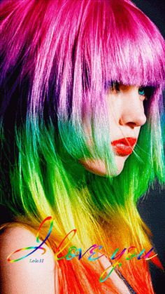 Lady Rainbow Hair (GIF)