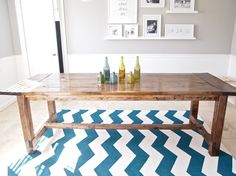 DIY Chevron Rug. Table in pic was made from Ana White's Farmhouse table plans: http://ana-white.com/2009/12/plans-farmhouse-table-knock-off-of.html