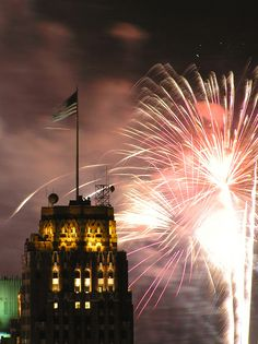 Detroit's annual fireworks from the Broderick Tower